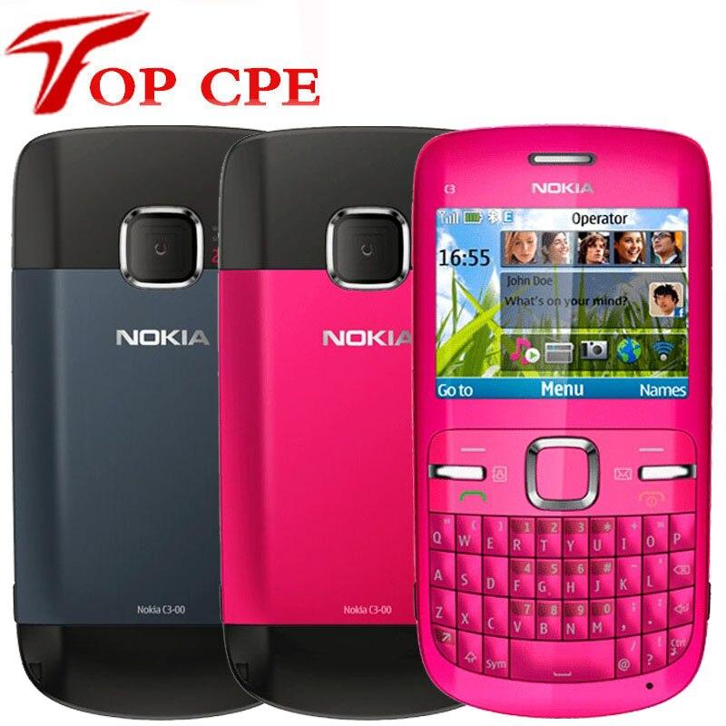 Nokia C3 Original desbloqueado nokia C3/C3-00 teléfono móvil WIFI bar 2MP azul oro rosa versión symbian un año de garantía