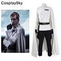 Rogue One Star Wars História Diretor Krennic Jaqueta Traje Cosplay Uniforme Oficial de Manto Branco Calças Pretas Luvas Cinto Coldre
