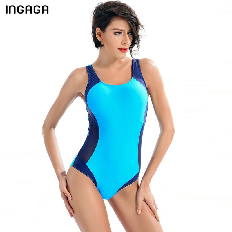 INGAGA One Piece Swimsuit Sexy Swimwear Women 2018 Sports Swimming Suits Bodysuits Patchwork Bath Competition Bathing Suits competition racing one piece swimsuit