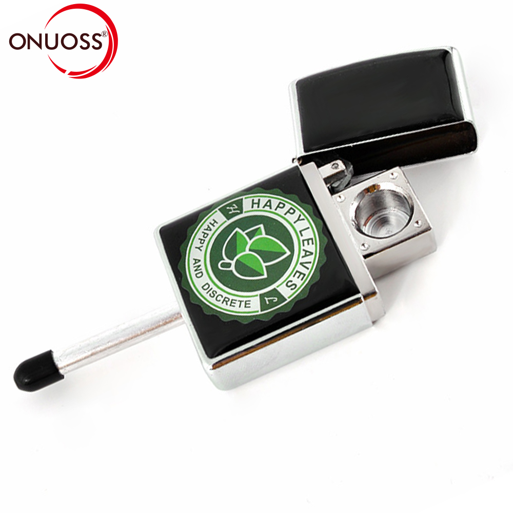 ONUOSS Metal Portable Creative Lighter Shape Smoke Filter Smoking Pipe Herb Tobacco Pipe Weed Narguile Mouthpiece Cigarette Hold