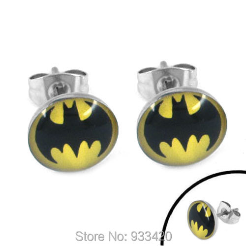 Free shipping! Enamel Batman Earring Body Piercing Stainless Steel Jewelry Trendy Motor Earring Studs SJE370080-1