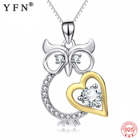 Necklace 925 Sterling Silver Cubic Zirconia Necklace Owl Love Heart Crystal Pendants Necklaces Fashion Jewelry For Women PYX0123