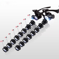 2.5X 4X 6X 8X 10X 15X 20X 25X Multi Power Double LED Lights Magnifier Eye Glasses Watch Repair Loupe Jeweler Magnifying Glass