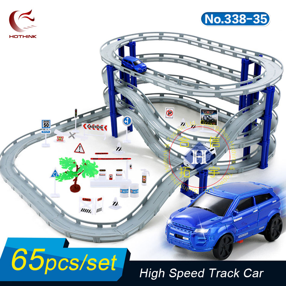Hothink Electric Rail Track Car Train Model Bridge Railway Highway Overpass Racing Road Toy Building Sets High Speed for Kids