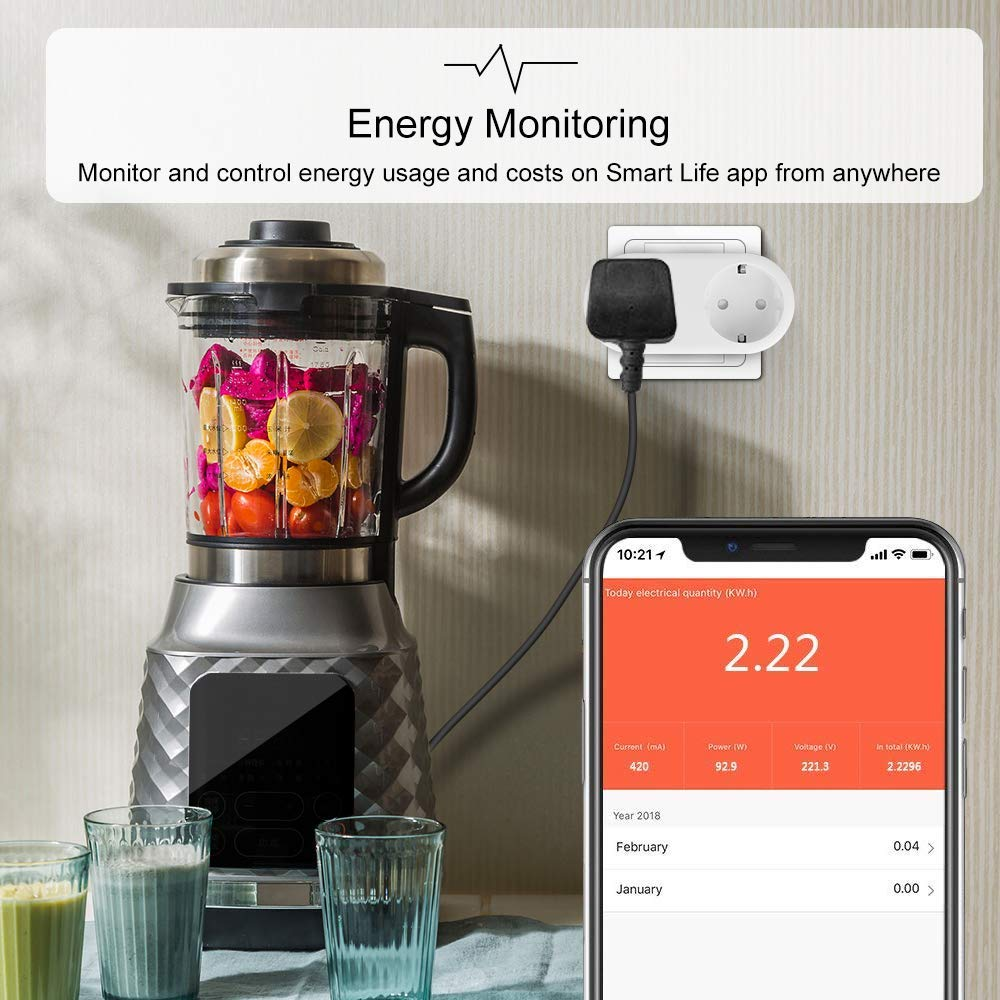 wifi Smart Socket Two EU outlet 16A Metering Version plug Energy Monitoring Timer Switch Voice Control Works with Alexa Google