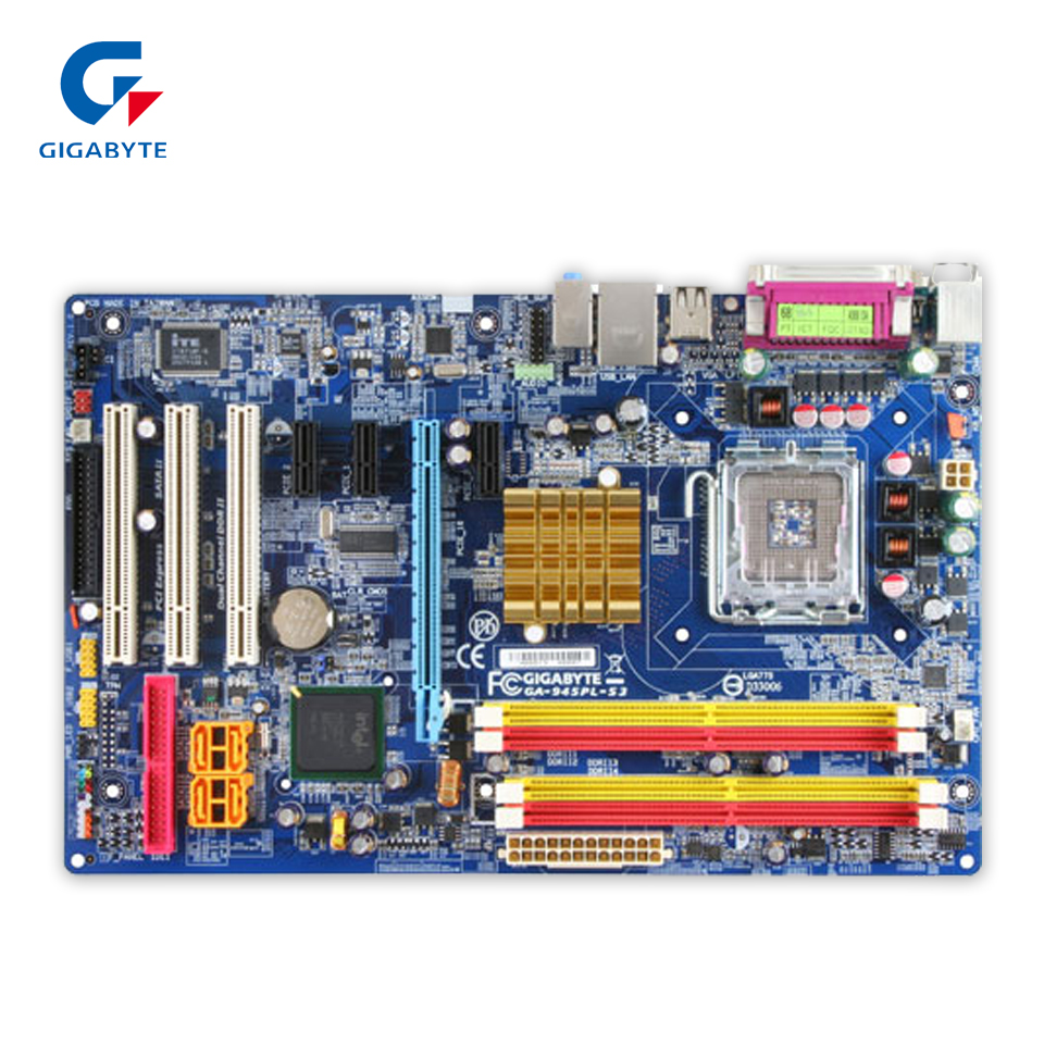 Original Gigabyte GA-945PL-S3 Desktop Motherboard 945PL-S3 945PL LGA 775 DDR2 2G SATA2.0 ATX 100% Fully Test 945 775 motherboards for lenovo 945gz m2 lga775 ddr2 945 desktop motherboards