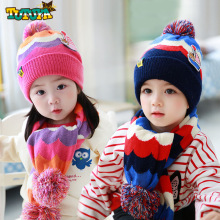 цены на 1-4 Years Old Children Winter Hat Scarf Set Kids Warm Fur Pom Pom Caps Baby Boys Girls Double-deck Knitted Hats Long Scarves  в интернет-магазинах