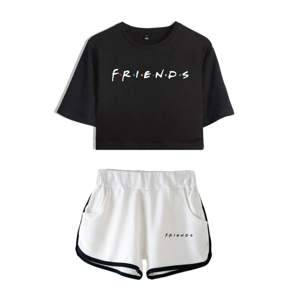 Friends Two Piece Set TV Show I'll Be There For You Summer Sexy Cotton T Shirt New Suit Shorts Crop Top Women Fashion Outfits