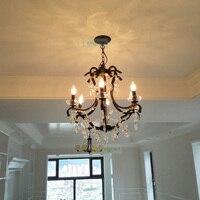 Crystal League American Country Retro Iron Crystal Lamp Nordic chandeliers Corridor Vestibule Staircase Restaurant chandelier