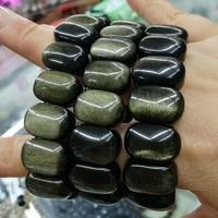 natural golden obsidian beads bracelet natural stone beads bracelet DIY jewelry for man for wealth wholesale !