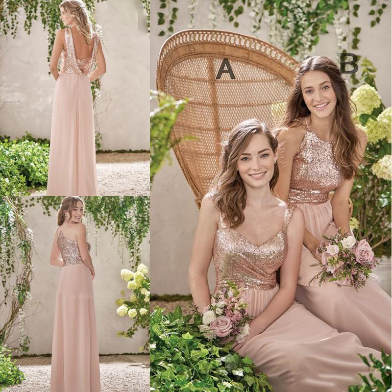 2017 Rose Gold Long Bridesmaid Dresses A Line Spaghetti Backless Sequins Chiffon Cheap Wedding Guest Dress Maid of Honor Gowns