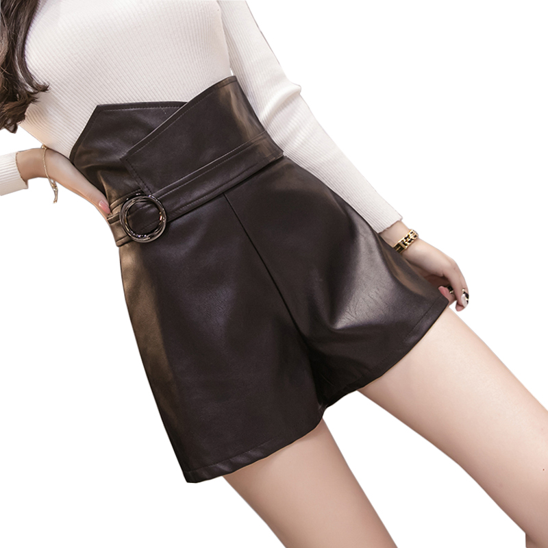 PU Leather High Waist Shorts For Women Irregular Slim Black Shorts Skirts With Belt 2019 Winter Fashion Casual Women's Shorts