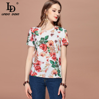 LD LINDA DELLA 2019 Spring Summer Casual Elegant T shirt Women's Short Sleeve Floral Print Tops Tees Fashion Runway T shirt