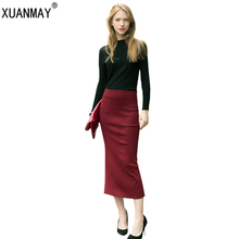 2017 new knitted Skirt female high elastic soft and comfortable pure color high waist pleated skirt sexy package hip Wool skirt
