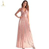 Sexy Pink Sequined Maxi Party Dress Stretch Floor Length Navy Sequins Backless Padded Bodycon V Neck Full Lining Black Dress