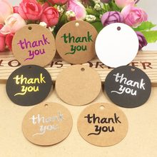 "100 pcs ""Thank you"" Round Kraft Paper Tags/ Party Favors Tags /Wedding Favors Candy Boxes Decoration Tag Card 4cm(China)"
