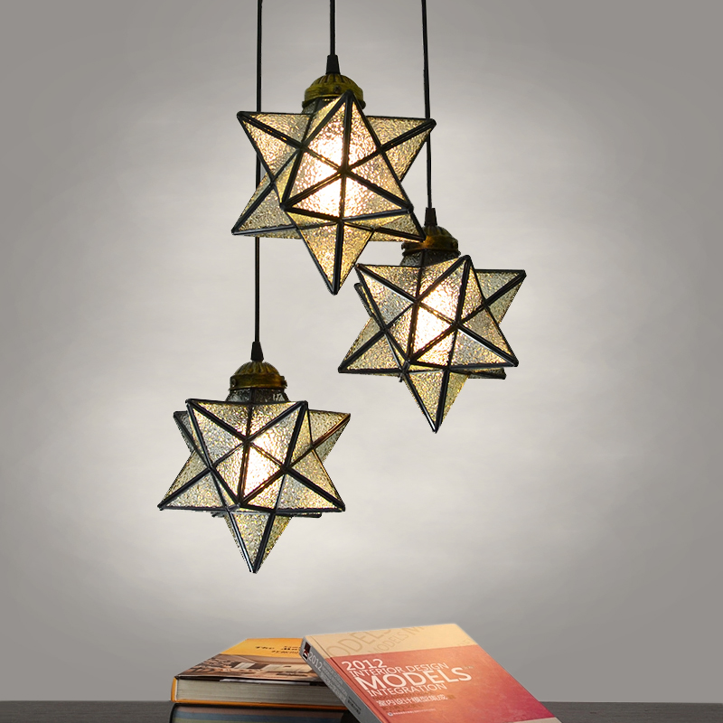 Five - star chandelier creative bar counter copper 3 - head kitchen coats room lights living room restaurant CL FG317