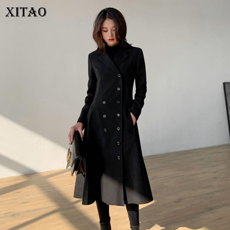 [XITAO] 2019 Spring New Fashion New Turn-down Collar Full Sleeve Casual   Trench   Female Double Breasted Solid Color Coat DLL2265