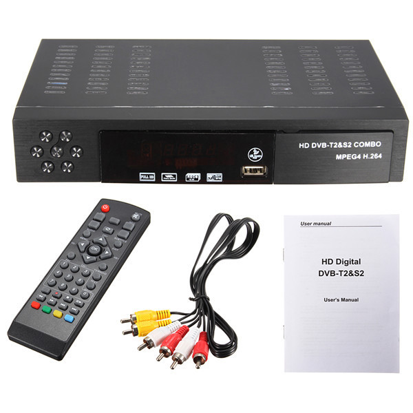 Full HD 1080 P DVB-T2 + S2 COMBO de Radiodifusión de Vídeo Digital TV Receptor H.264/MPEG-2/4 DVB-S/DVB-TBISS Clave Decodificador
