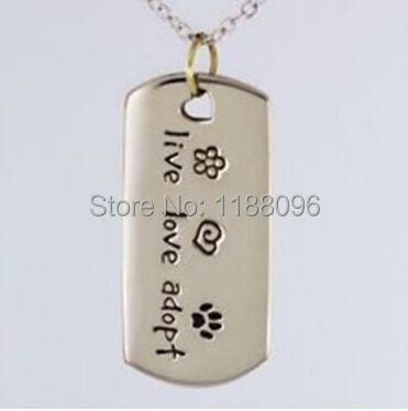 Wholesale Dog tag hot sales Live Love Adopt Cat tag cheap custom Pet Rescue tags low price cute pet Paw Print Tag hl8998