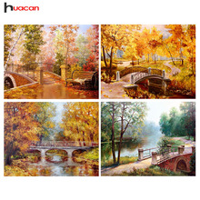 Diamond embroidery, Autumn, Scenery, Bridges, Forest, Diamond Painting, Cross Stitch, Round, Drill Mosaic Picture, Crystal Drawing