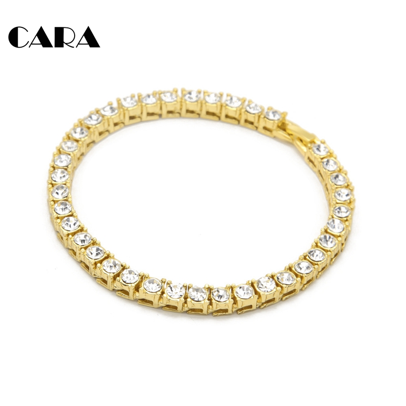 Plated zinc alloy mens Hip hop bracelet male 1 row rhinestones bracelet Men 39 s bracelet fashion nightclub fittings CAGM0001 in Chain amp Link Bracelets from Jewelry amp Accessories