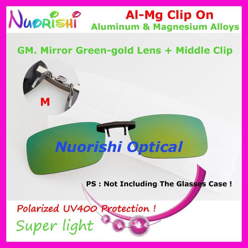 10 шт. сплава al-mg поляризованные Очки очков 7 цветов UV400 линзы клип на для малого и среднего Размеры зажимы cp07 - Цвет линз: GM Mirror Green gold