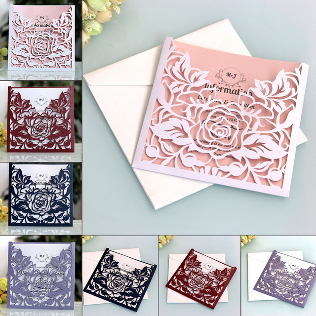 aihome 10pcs lot lace pocket wedding invitations cards square laser