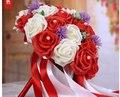 2017 Barato Nuevo Romántico Rojo y Blanco de Dama de Honor Nupcial Hecho A Mano Rosa Artificial de La Boda/la Dama de honor Ramos de Flores de Accesorios