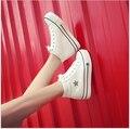 Queda 2017 edição han couro de alta ajuda sapatos de lona sapatos de plataforma de fundo grosso lazer estudantes do sexo feminino sapatos de pano
