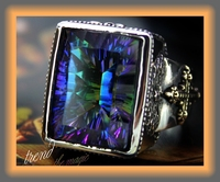 Man classical religion high strength Colorful stone square 925 silver ring male thai silver vintage silver jewelery finger ring