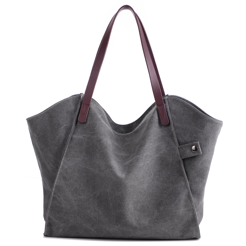 KVKY New Women Shoulder & Hand Bags Soft Canvas Gray Blue Brown White Fashion Design For Shopper Girl PU Leather Handle