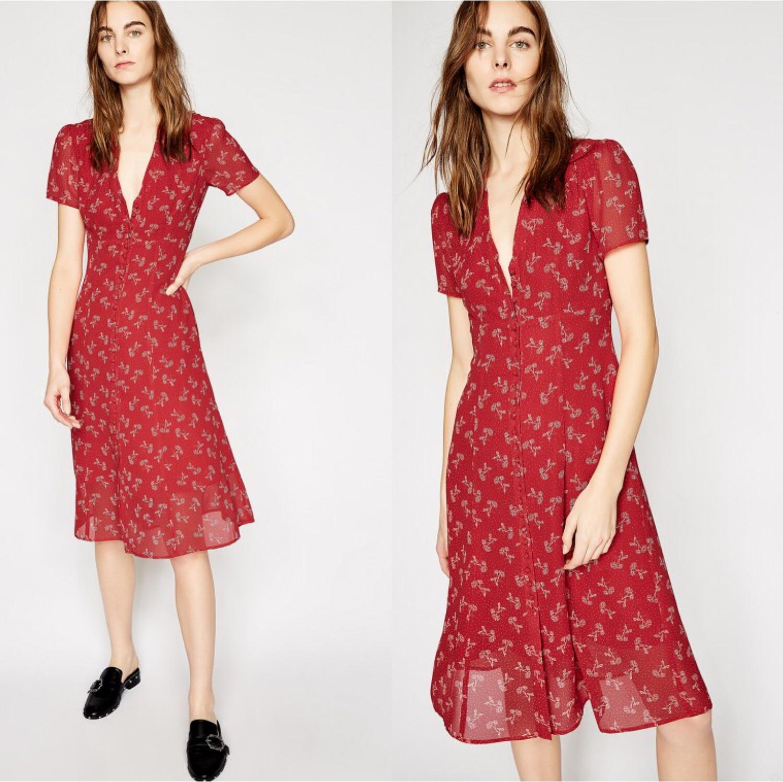 Women Dress Vintage V neck Button Waist Floral Long Style Dress