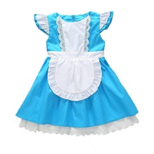 1-8 Years Girls Princess Alice Costume Kids Cinderella Dress Ruffle Sleeve Girls Lolita Apron Dress Maid Cosplay Costumes 2019