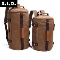 Z.L.D. large capacity drum bags men and women canvas computer bag backpack bag luggage travel bag large scale weekend package