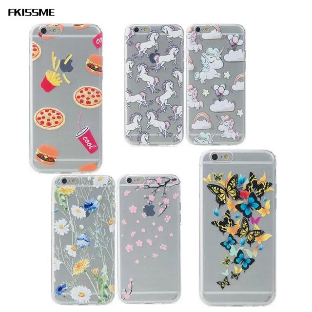 FKISSME Mignon Licorne Cheval Pizza Puces Paisley Mandala Flower Soft TPU Cas pour iPhone 6 6 S Plus 7 Plus 5 5S Couvercle Transparent Coque dans ...