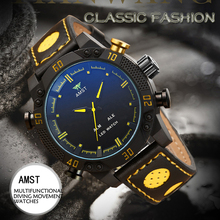 AMST Mens Watches Quartz Multi-function Movement Dual Display Sports Watch Men Luxury Leather Waterproof relogio clock