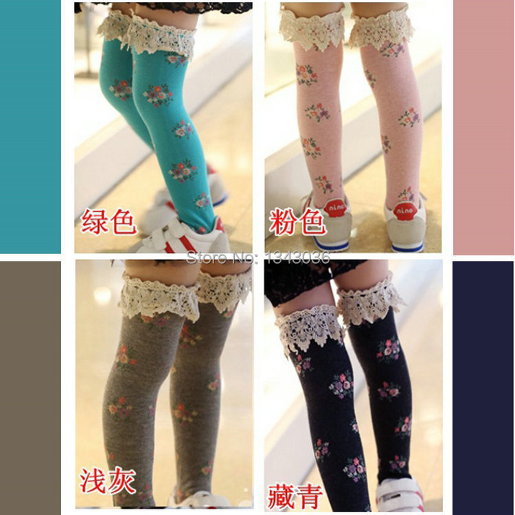 E babe wholesale spring autumn girl s flower cotton long socks free shipping