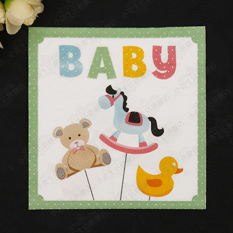 20 pcs Lovely Baby Animals Party Color Napkin Paper 100% Virgin Wood Tissue for Kids Birthday Party Decoration Paper Crafts