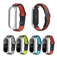 2019 Soft Silicone Metal Buckle Two-tone Wrist Strap Breathable Watchband for Xiaomi Mi Band 4/3 Smart Sports Bracelet