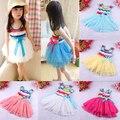 2015 летом новой детской одежды хлопка платье девушки плиссированные хлопка платья радуга девушки платье принцессы платье