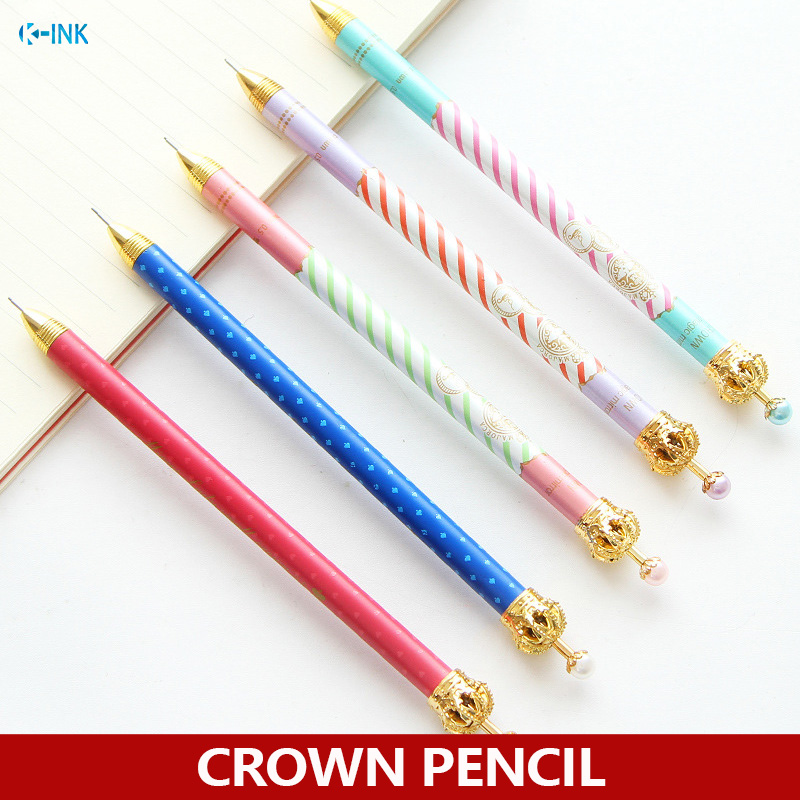 12pcs / lot , colorful crown 0.5mm mechanical pencil for writing as Korean stationary