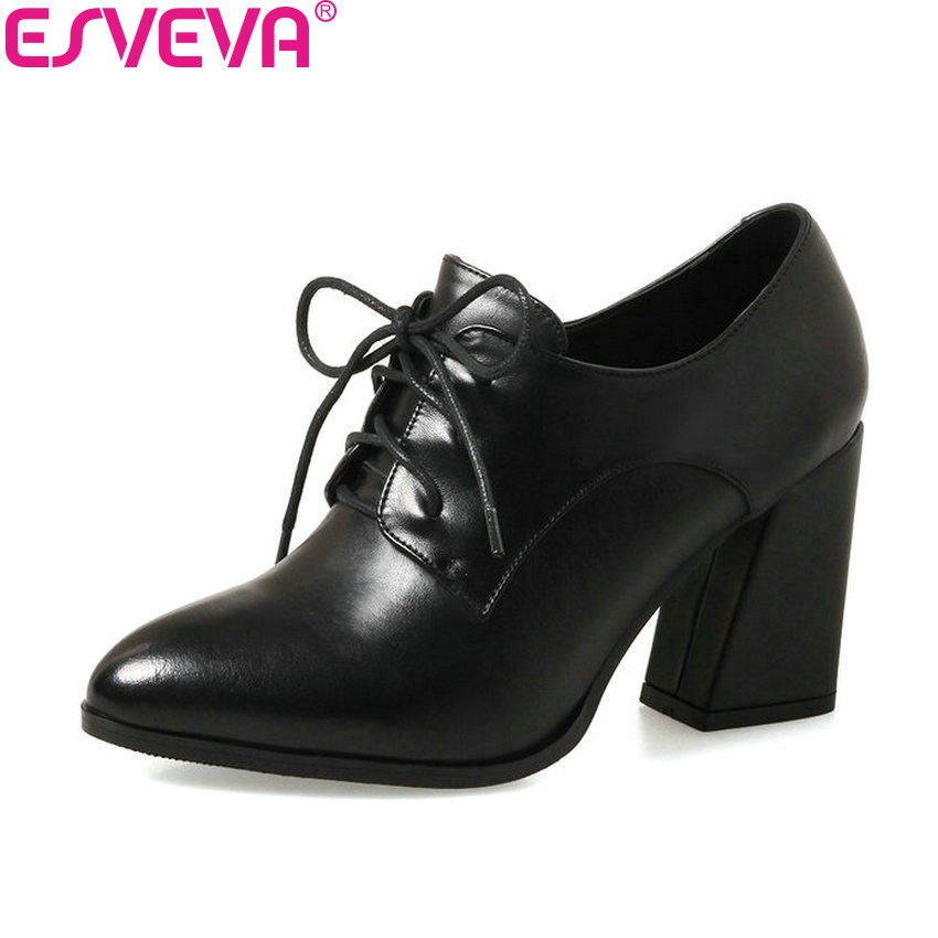 ESVEVA 2018 Women Pumps Shoes Cow Leather PU Square High Heels Pointed Toe Western Style Lace Up Concise Ladies Shoes Size 34-43 esveva 2018 pointed toe western style women pumps cow leather pu square high heels lace up out door ladies shoes size 34 43