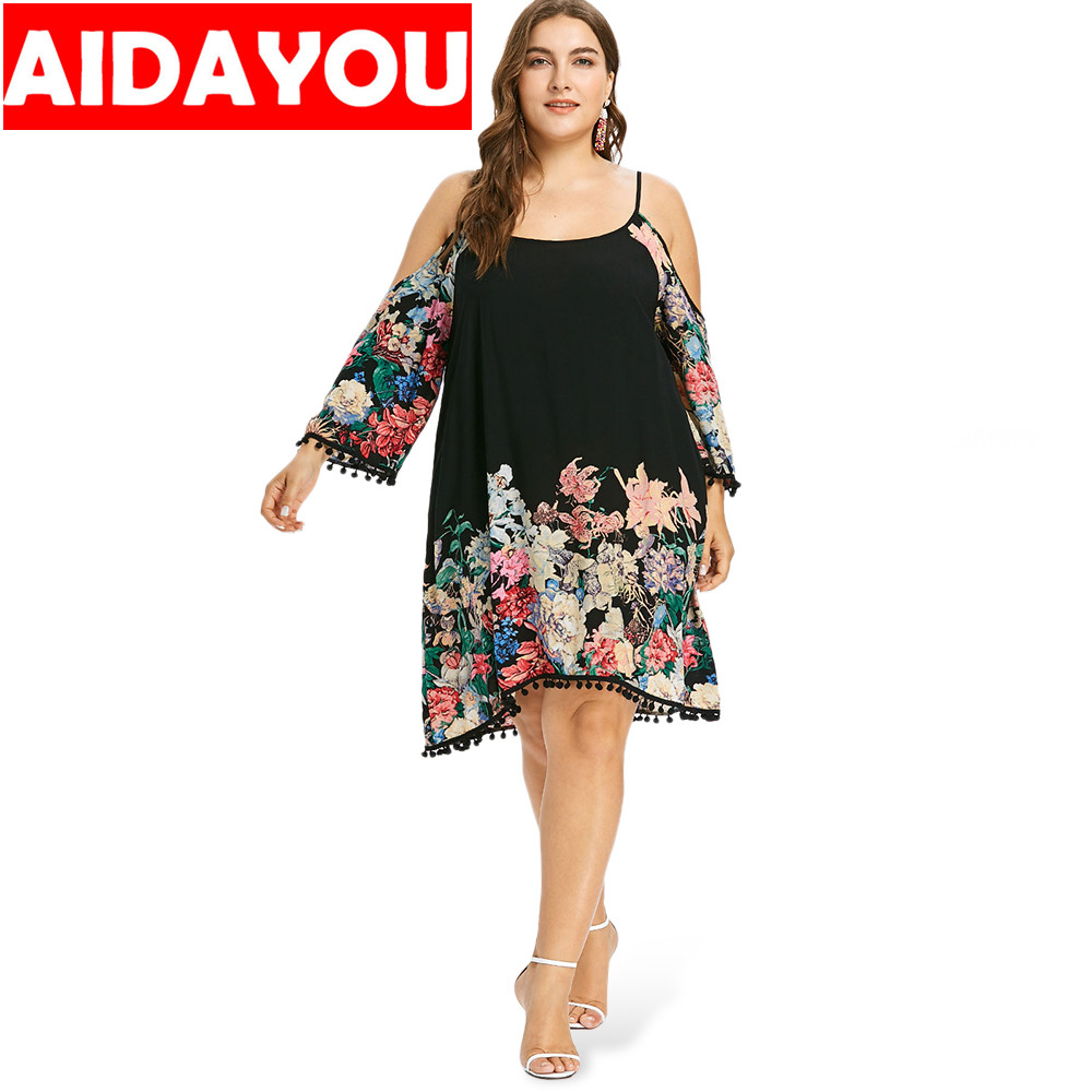 Womens large size dress to increase loose seven-point sleeves off-shoulder print sexy  ouc3311