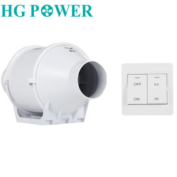 цена на 3''Silent Home Inline Duct Fan with Dual Speed Control Switch Extractor Exhaust Fan for Kitchen Bathroom Air Ventilation Fan