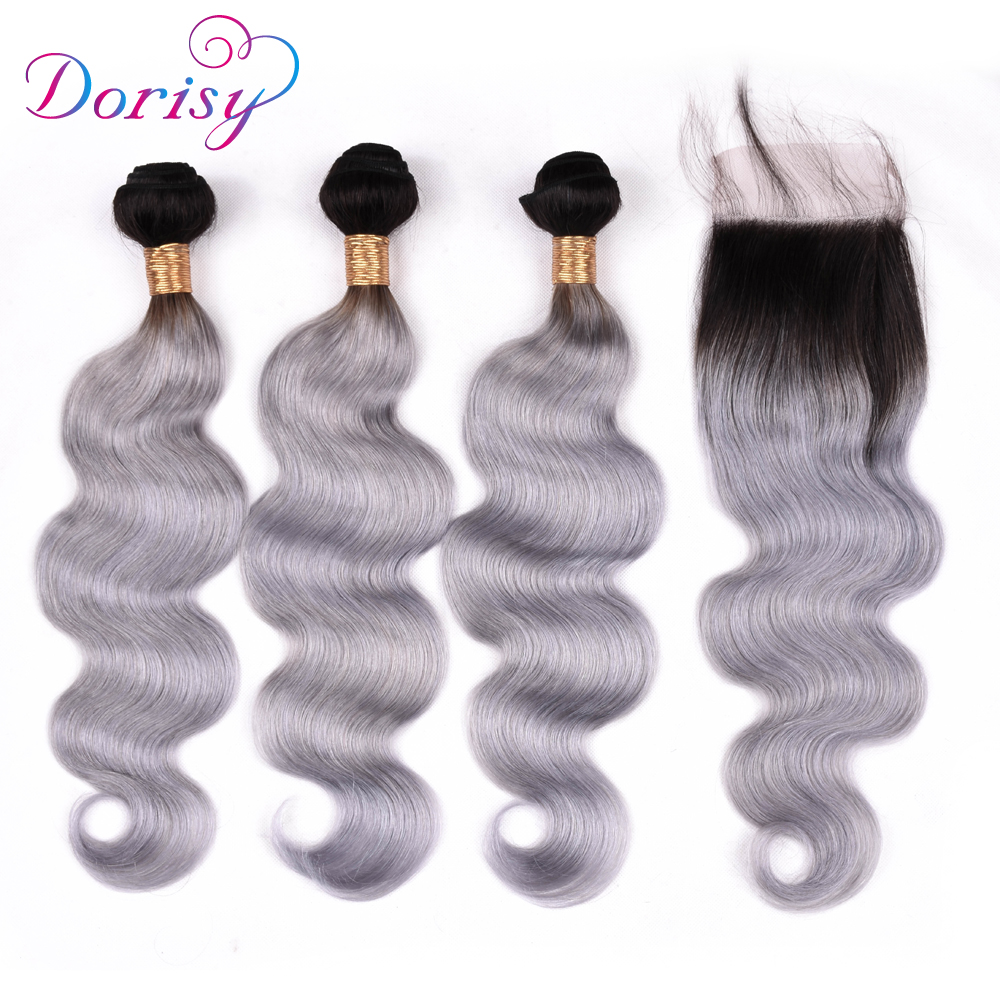 Dorisy Hair Body Wave Lace Closure With Bundles Brazilian Remy Hair Human Hair Closure With Baby Hair 1B Grey Color
