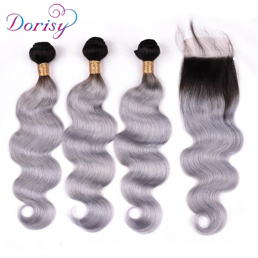 Dorisy Hair Body Wave Lace Closure With Bundles Brazilian Remy Hair Human Hair Closure With Baby Hair 1B Grey Color