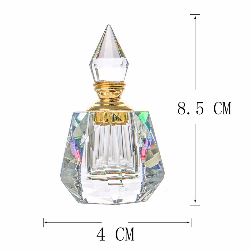 3ML Clear K9 Crystal Refillable Woman Perfume Bottle Vintage Arc-shaped Aurora Borealis Empty Container wgold Trim Glass Dauber (5)