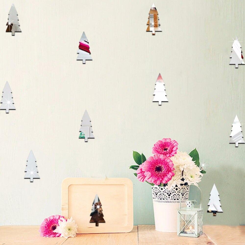 18pcs Christmas Tree Mirror Wall Sticker Wall Decal Pine Christmas Tree Wall Stickers Rooms Decoration 3D Acrylic Wall Stickers