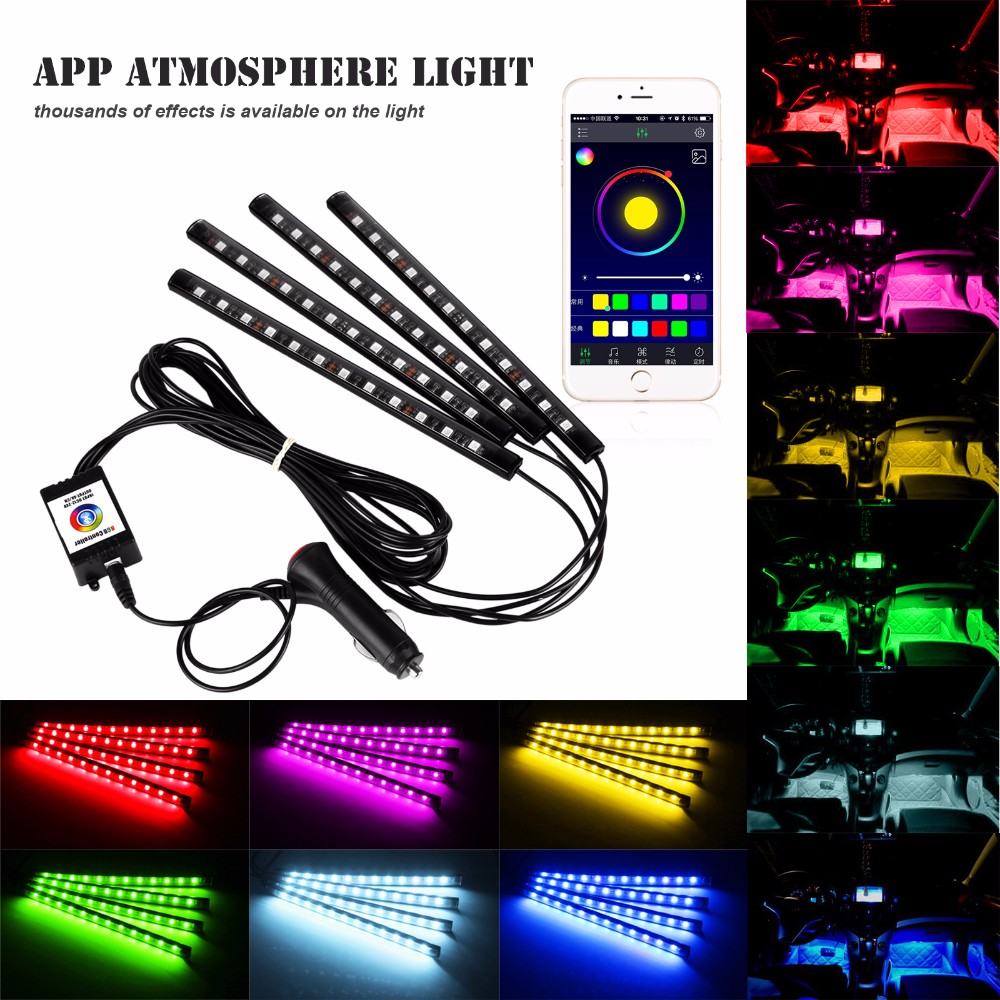 2017 Remote control Car RGB Strip Light Atmosphere Foot Lamp For Honda Legend Life MDX NSX Partner Pilot S2000 ThatS Vezel Zest